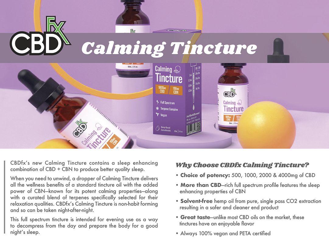 CBDfx Calming CBD + CBN Oil Tincture Info Banner