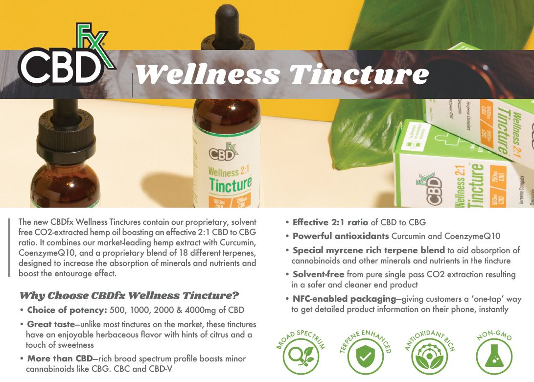 CBDfx Wellness CBD + CBG Oil Tincture Info Banner
