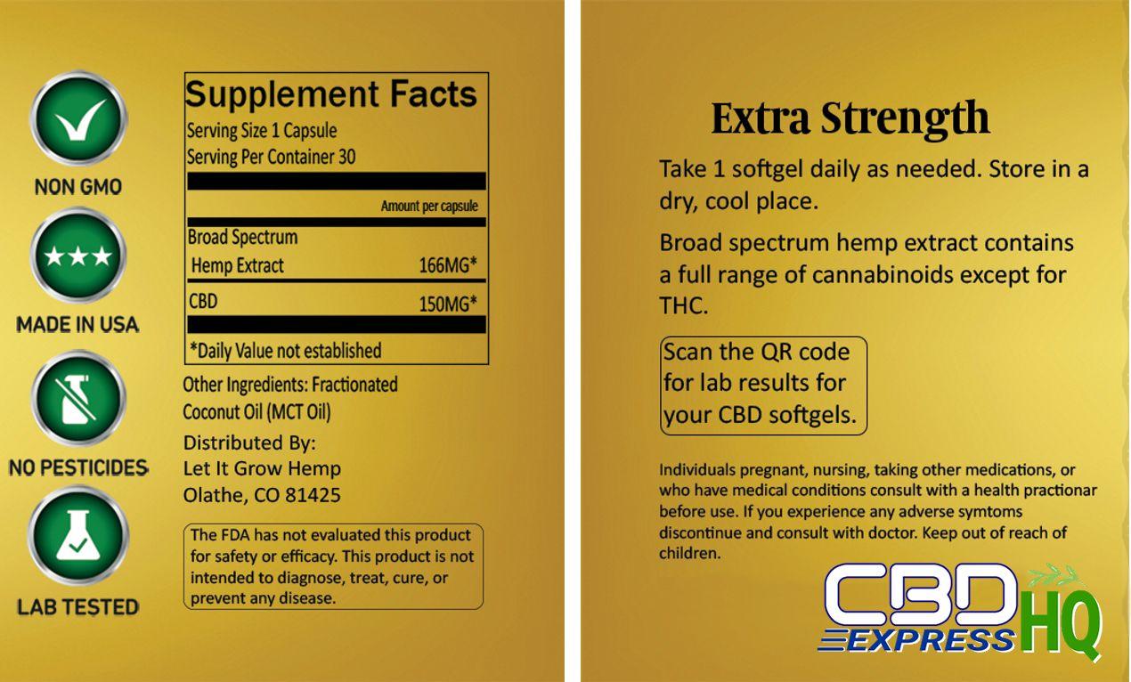 Let It Grow Hemp Broad Spectrum CBD Soft Gels Info Banner