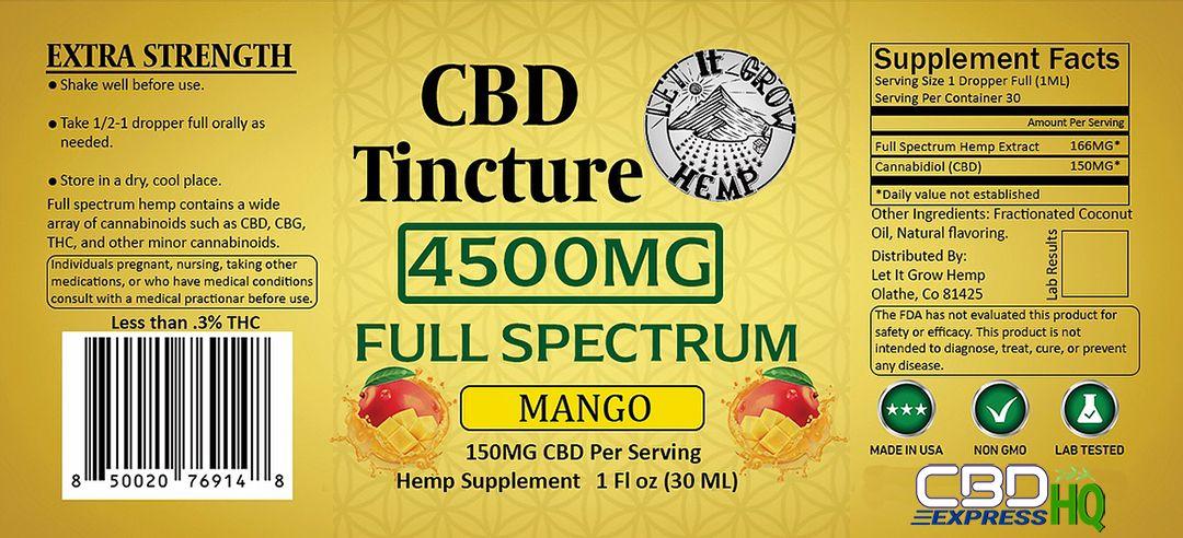 Let It Grow Hemp Full Spectrum Mango CBD Tincture Info Banner