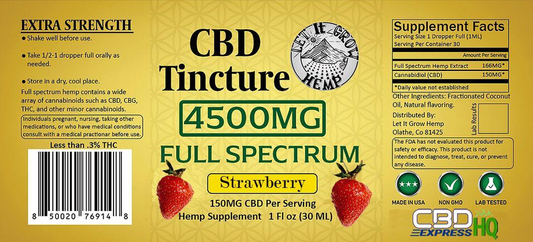Let It Grow Hemp Full Spectrum Strawberry CBD Tincture Info Banner